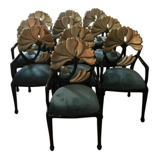 Hollywood Regency Floral Backed Dining Chairs - Set of 10