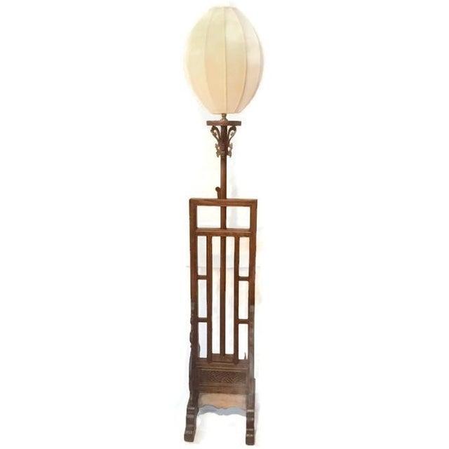 Vintage Carved Wood Lotus Lamp - Image 1 of 9
