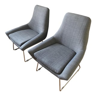 Knoll Style Gray Lounge Chairs - A Pair