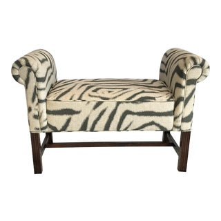 Zebra Print Scroll Arm Bench