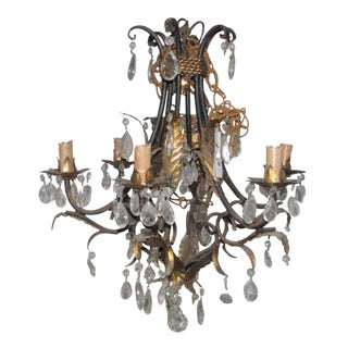 Wrought Iron Brass & Crystal Chandelier