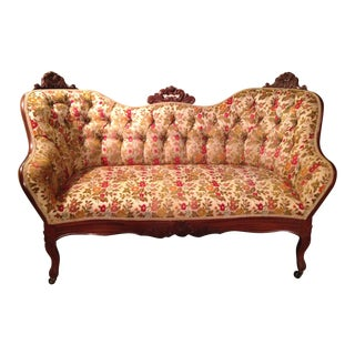 Antique Upholstered Wooden Loveseat