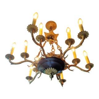Vintage Black & Brass Chandelier