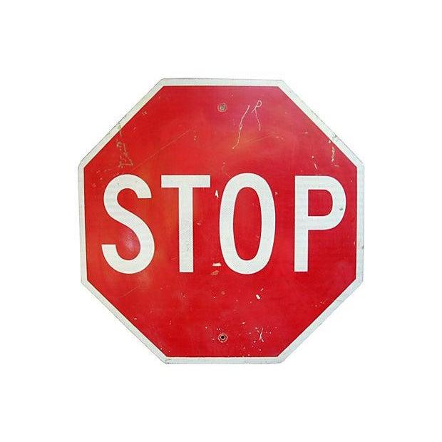 Image of Large Vintage Metal Stop Street Sign