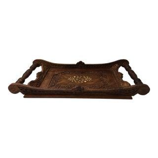 Boho Chic Bone Inlaid Wood Handled Tray