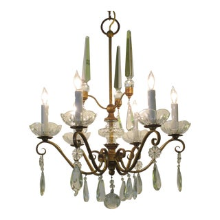 Elegant French 1940s Gilt-Metal Six-Light Chandelier with Crystal Pendants