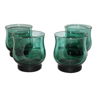 Libbey Turquoise Low-Ball Glasses - Set of 4