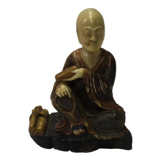 Chinese Color Painted Soap Stone Carved Lohon Figure