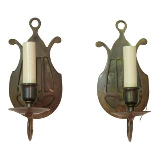 Neoclassical Lyre Back Sconces- A Pair