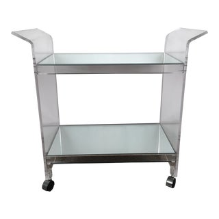 Lucite Bar Cart With Two Mirrored Tiers