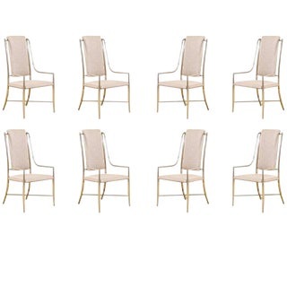 Unique Set of Eight Pewter Dining Chairs by Mastercraft