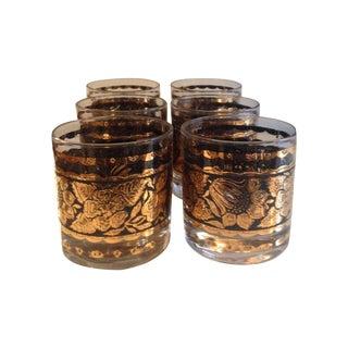 Vintage Black & Gold Glasses- Set Of 6
