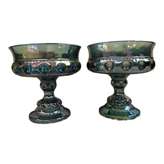 Blue Carnival Glass Kings Crown Compotes - A Pair
