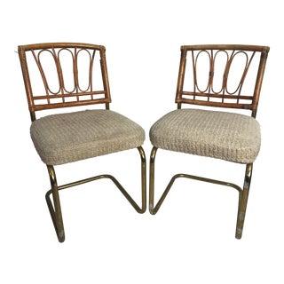 Douglas Furniture Chrome Cantilever Bamboo Chenille Seats - A Pair