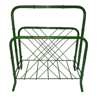 Vintage Faux Bamboo Green Metal Magazine Rack