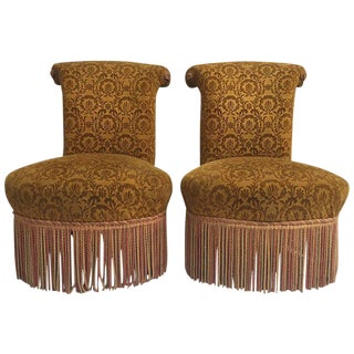 Antique French Upholstered Slipper Chairs - A Pair