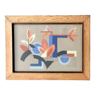 Mid Century Abstract Needlepoint Art