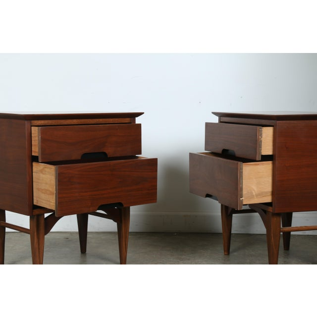 Mid-Century Walnut Nightstands - A Pair - Image 4 of 11