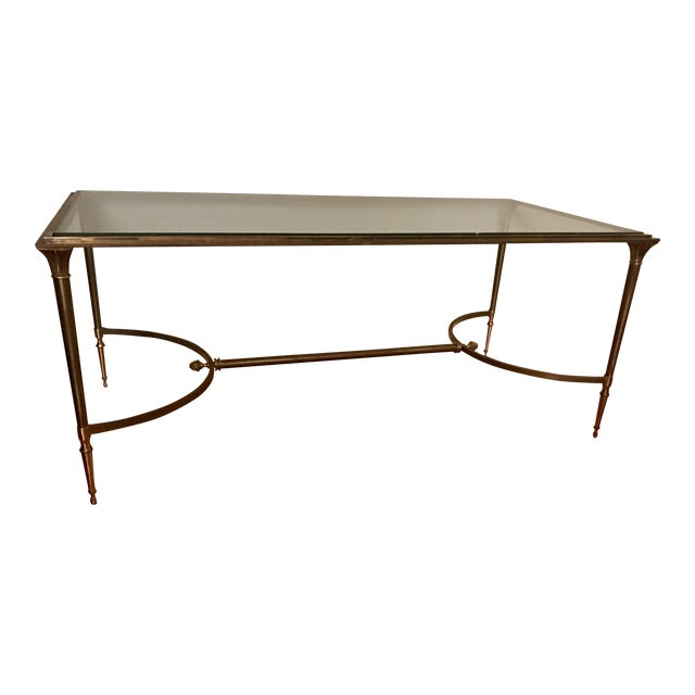 Image of Vintage Polished Brass and Steel Cocktail Table