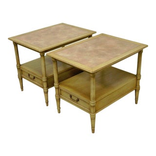 Vintage Drexel Hollywood Regency Leather Top Solid Wood Side Tables - A Pair