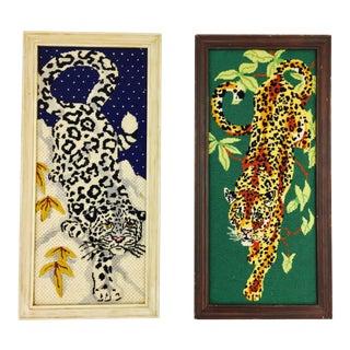 Vintage Framed Tiger Needlepoints - a Pair