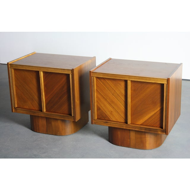 Mid-Century Book-Match Walnut End Tables - A Pair - Image 7 of 10