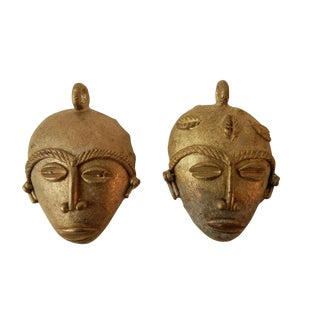 African Baule Gold Weights Passport Masks - A Pair
