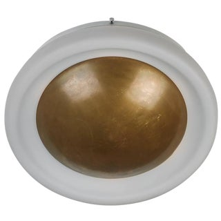 Brass and Opaline Glass Flush Mount Ceiling Light