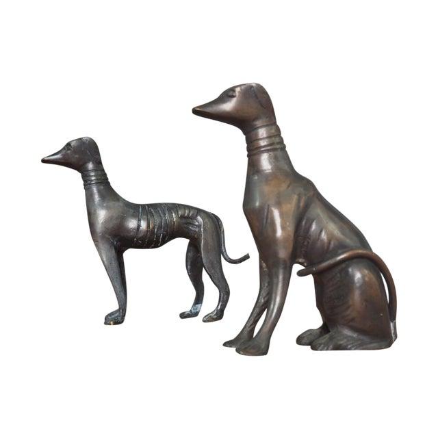 Antique Art Deco Cast Bronze Greyhounds - A Pair - Image 1 of 7