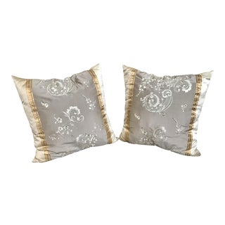 Pair of Silk Embroidered Decorative Pillows by Designers Guild