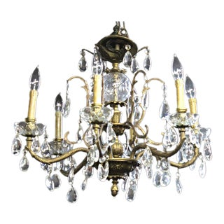 Bronze & Crystal Hanging Chandelier