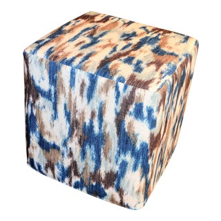 Watercolor Indigo and Brown Cube Pouf