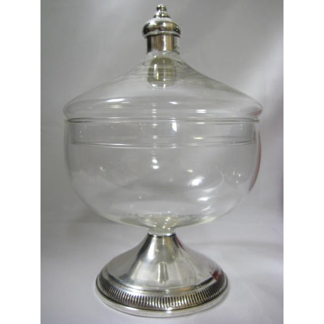 Image of Sterling Finial & Base Covered Glass Candy Dish