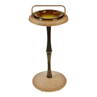 Vintage Ashtray Stand with Amber Glass Ashtray