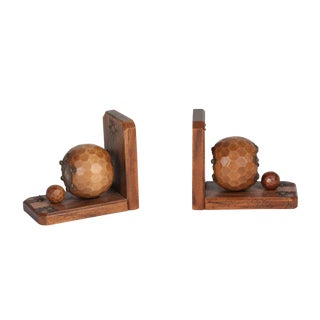 Faceted Sphere Oak Bookends, French c. 1930