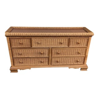 Seven Drawer Wicker Dresser
