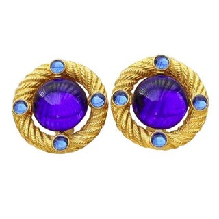 90s Blue Park Lane Button Gold Clip Earrings - A Pair