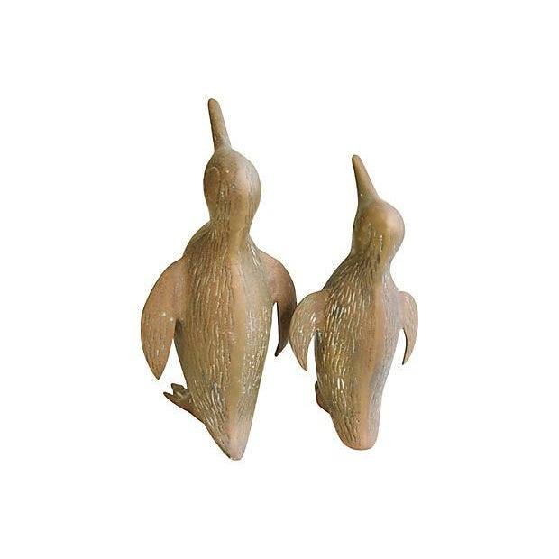 Image of Vintage 1950s Mid-Century Brass Penguins - A Pair