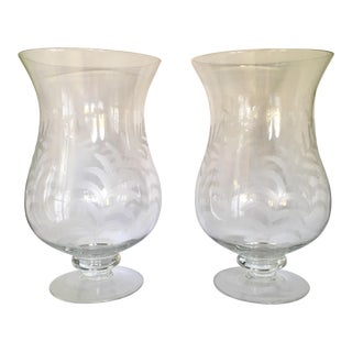 Etched Glass Hurricanes - A Pair