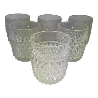 Clear Diamond Point Glass Rocks Glasses - Set of 6
