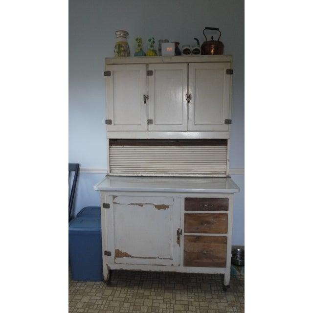 Mid-Century White Wood Hoosier Potting Cabinet - Image 2 of 11