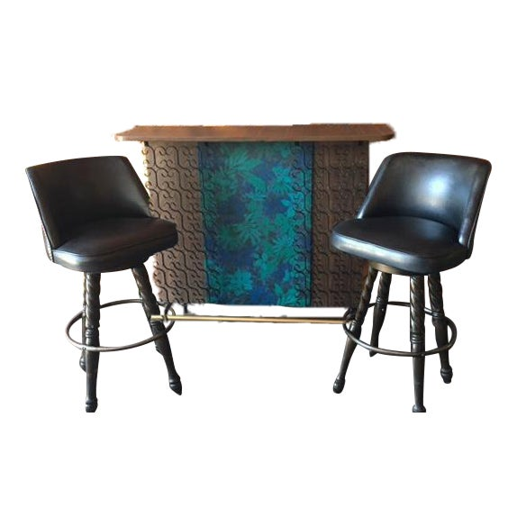 Mid Century Free Standing Bar with 2 Vinyl Stools - Image 1 of 11