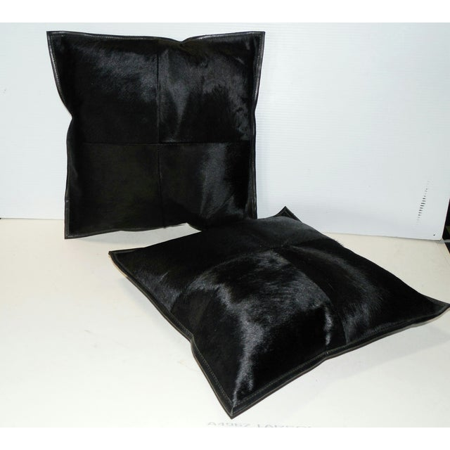 Black Calf Hide & Leather Pillows - a Pair - Image 3 of 6