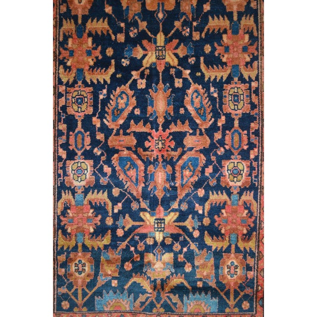 "Navy & Peach Antique Persian Rug - 4'4"" x 6'8"" - Image 4 of 6"