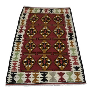 Southwestern Geometric Design Hand Woven Turkish Kilim Rug - 2′11″ × 4′11″