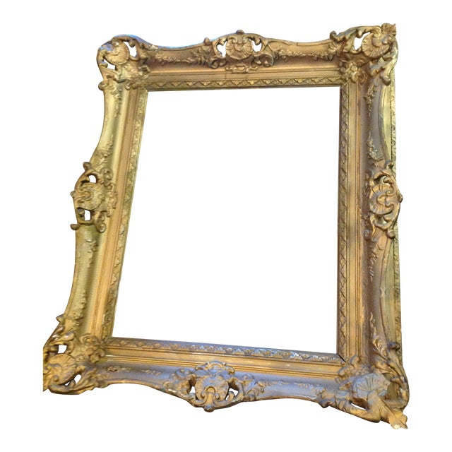 Antique Wood Hollywood Regency Large Frame Victorian White Shabby Chic - Image 1 of 11