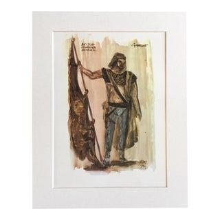 "Vintage Stratford Festival Design Folio, Standard Bearer in Shakespeare's ""Cymbeline"" Costume Print"