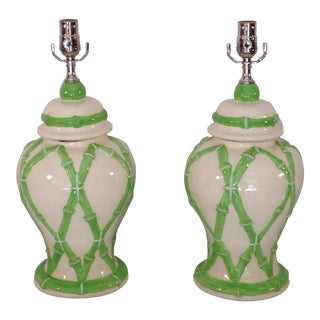 Faux Bamboo Decorated Ginger Jar Lamps - A Pair