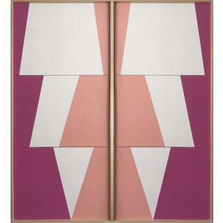 """Jason Trotter Original Acrylic Painting """"Tricolor Pink Double Jagged Triptychs Jet0474"""""""