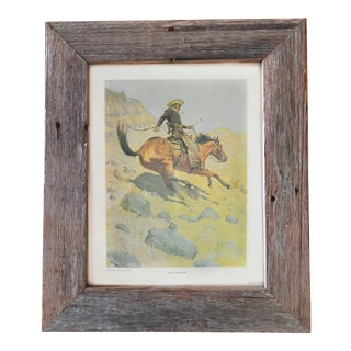 The Cowboy, Art Print With Reclaimed Barn Wood Frame